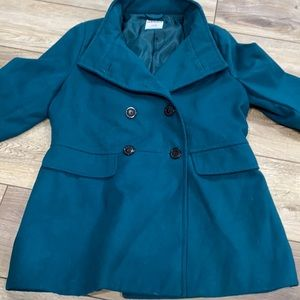 Green Turquoise { TALL } Lined Coat MED